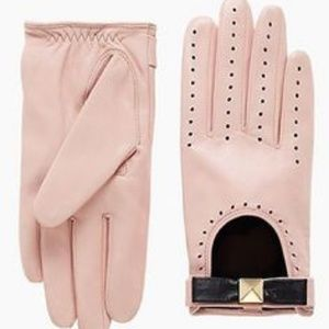 Kate Spade Pink Leather Perforated Moto Gloves 6.5